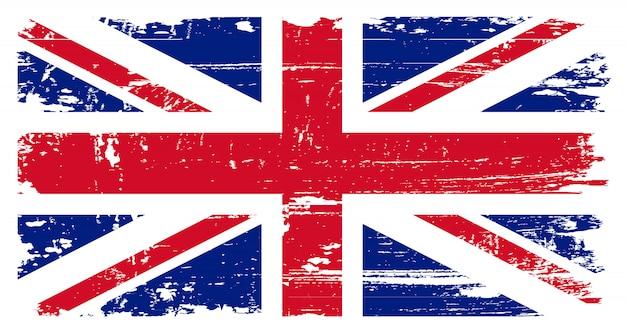 Grunge bandera de reino unido Vector Premium