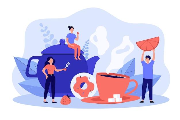 Grupo de amigos bebiendo té juntos. Vector Premium
