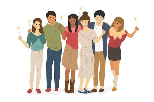 Grupo de amigos juntos ilustración vector gratuito