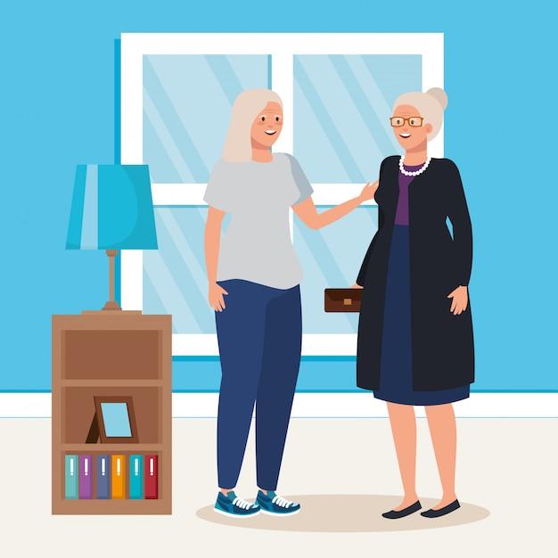Grupo de ancianas escena interior de la casa vector gratuito