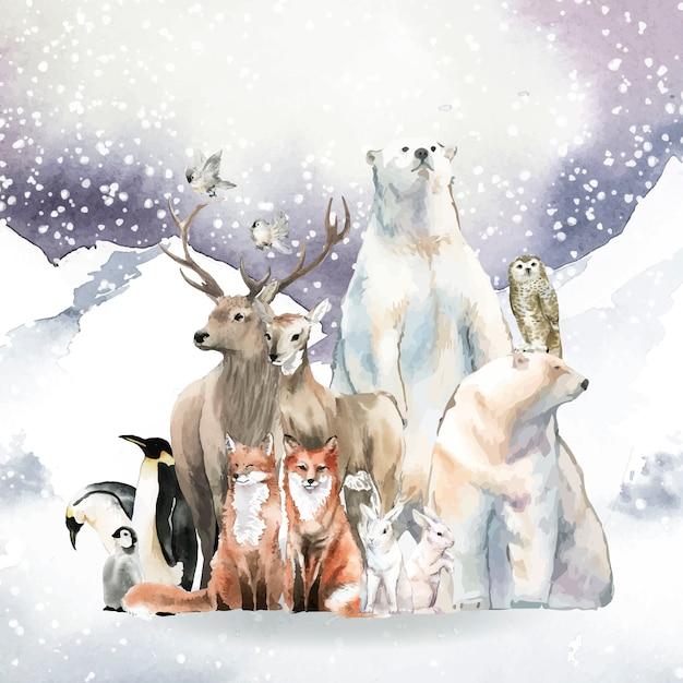 Grupo de animales salvajes en la nieve dibujados en acuarela. vector gratuito