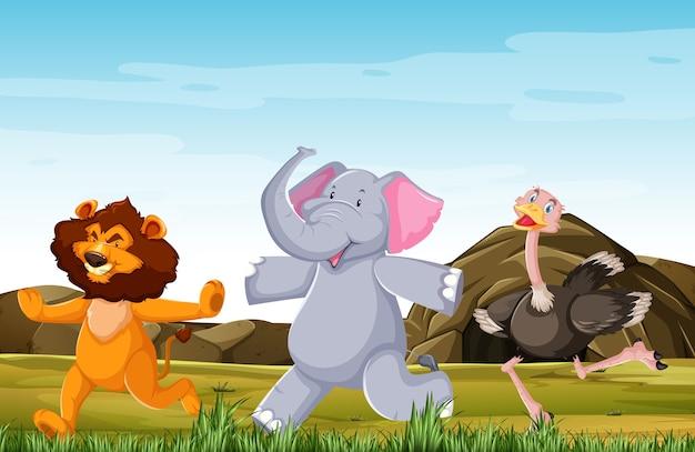 Grupo de animales salvajes está planteando estilo de dibujos animados de sonrisa de pie aislado en el bosque Vector Premium