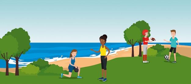 Grupo de atletas practicando deportes en el parque vector gratuito