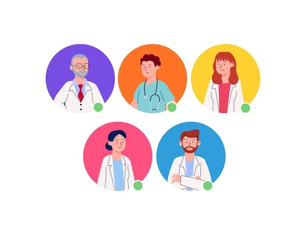 Grupo, de, avatar, perfil, doctor, caricatura Vector Premium
