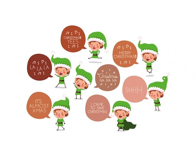 Grupo de ayudantes de santa elfos. vector gratuito