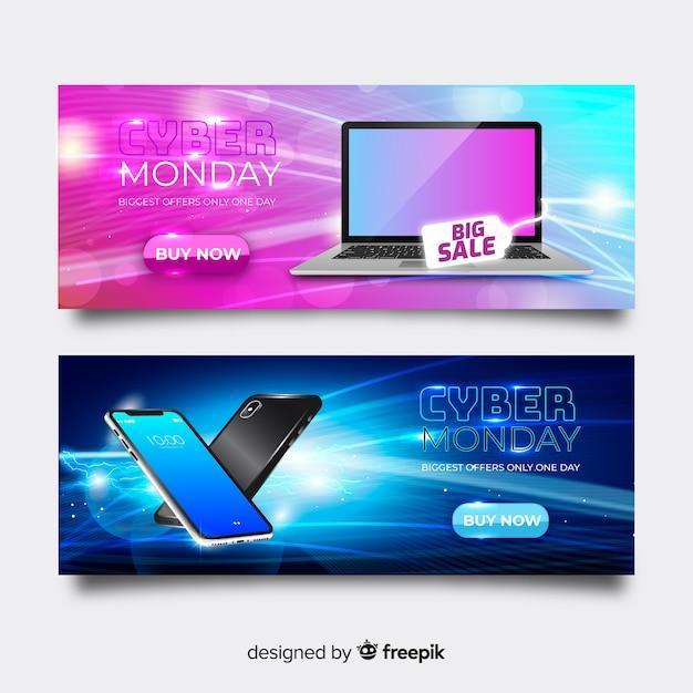 Grupo de banners realistas de ciber lunes vector gratuito