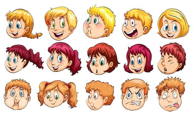 Grupo de cabezas humanas vector gratuito