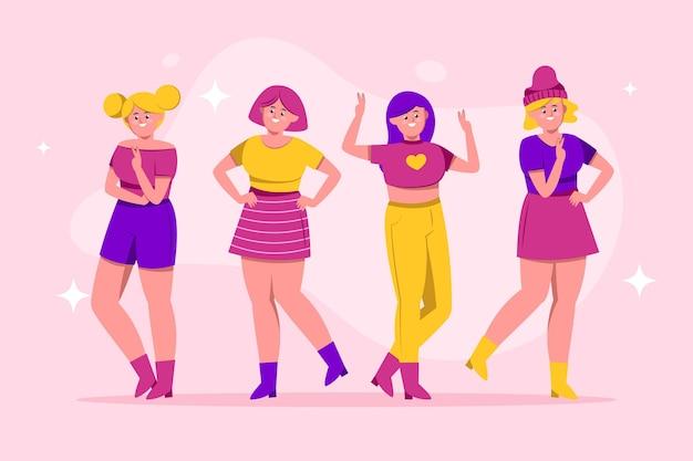 Grupo de chicas k-pop vector gratuito