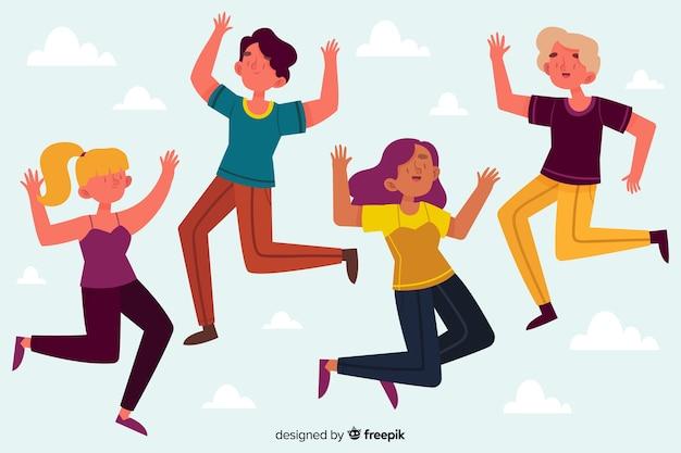 Grupo de chicas saltando juntas ilustradas vector gratuito