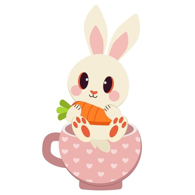 El grupo de conejo blanco y zanahoria en la taza. Vector Premium