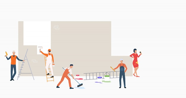 Grupo de constructores con herramientas de pintura banner de pared vector gratuito