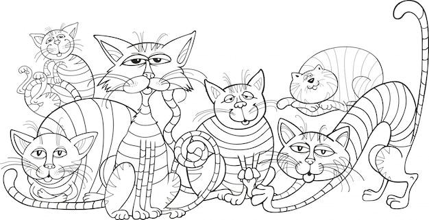 Grupo de gatos de color para colorear libro | Descargar Vectores Premium