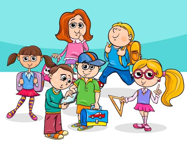 Grupo De Niños De Escuela Primaria De Dibujos Animados