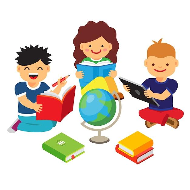 Grupo de ni os estudiando y aprendiendo juntos descargar for Aprendiendo y jugando jardin infantil