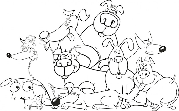 Grupo de perros de dibujos animados para colorear libro | Descargar ...