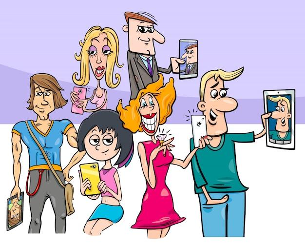 Grupo De Personas De Dibujos Animados Haciendo Fotos