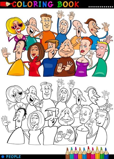 Grupo de personas felices para colorear | Descargar Vectores Premium
