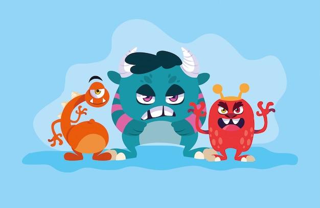 Grupo de dibujos animados de monstruos Vector Premium