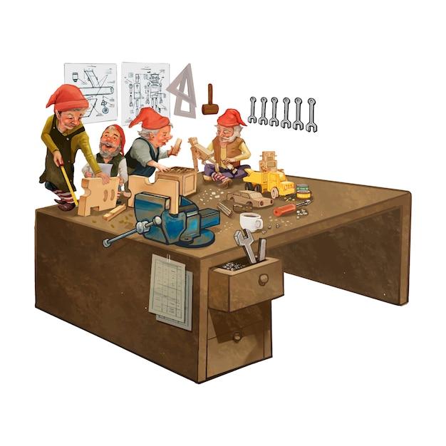 Grupo de elfos trabajando en un taller de santa. vector gratuito