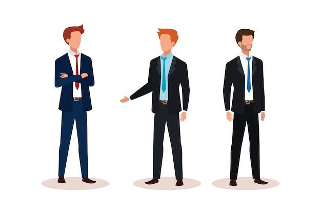 Grupo de empresarios avatar personaje vector gratuito