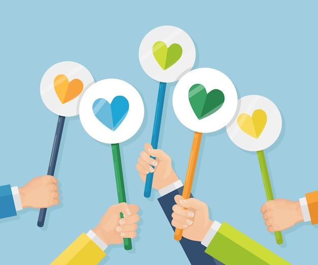 Grupo de empresarios con cartel de corazón rojo. redes sociales, red. buena opinión. testimonios, comentarios, reseñas de clientes, me gusta. día de san valentín. Vector Premium