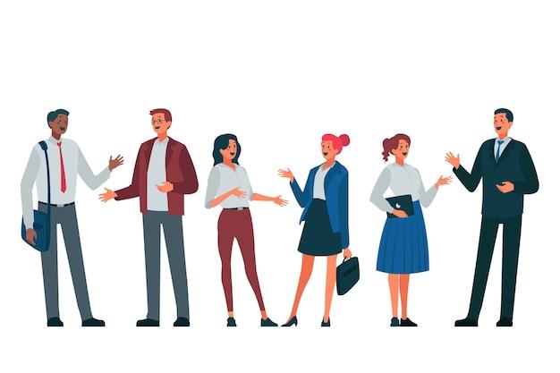 Grupo de empresarios discutiendo vector gratuito