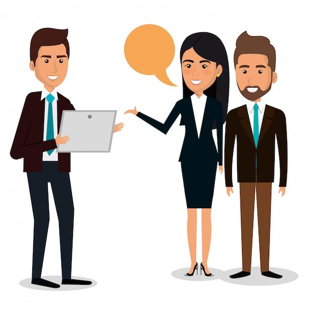 Grupo de empresarios con ilustración de trabajo en equipo de burbujas de discurso vector gratuito