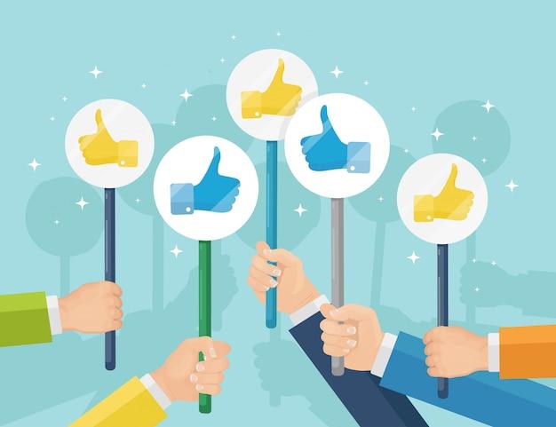 Grupo de empresarios con los pulgares para arriba. redes sociales. buena opinión. testimonios, comentarios, concepto de revisión del cliente. diseño plano Vector Premium