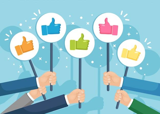 Grupo de empresarios con los pulgares para arriba. redes sociales. buena opinión. testimonios, comentarios, concepto de revisión del cliente. Vector Premium