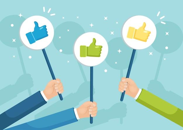 Grupo de empresarios con los pulgares para arriba. redes sociales. buena opinión. testimonios, comentarios, revisión de clientes. Vector Premium