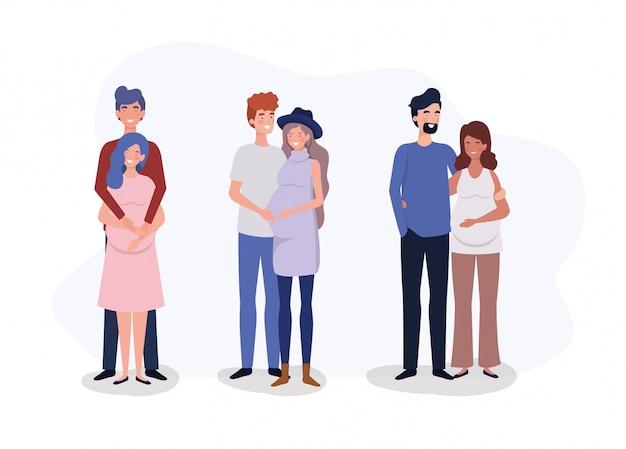 Grupo de enamorados parejas embarazo personajes. vector gratuito