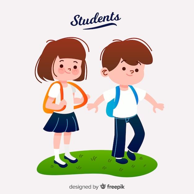 Grupo de estudiantes felices con diseño plano vector gratuito