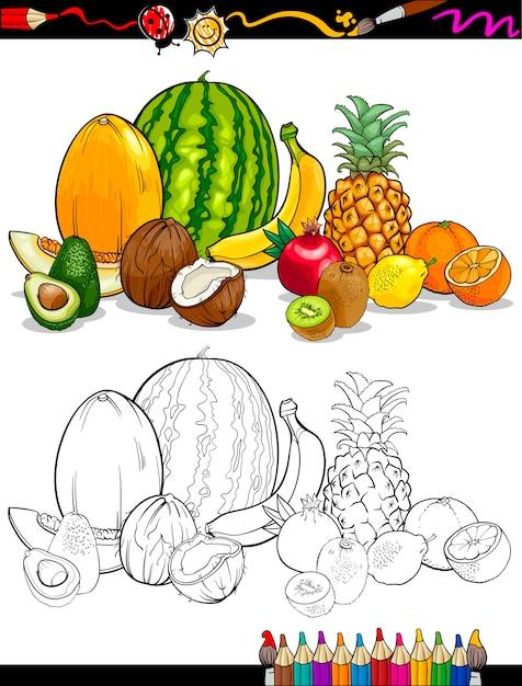 Grupo de frutas tropicales para colorear libro Vector Premium