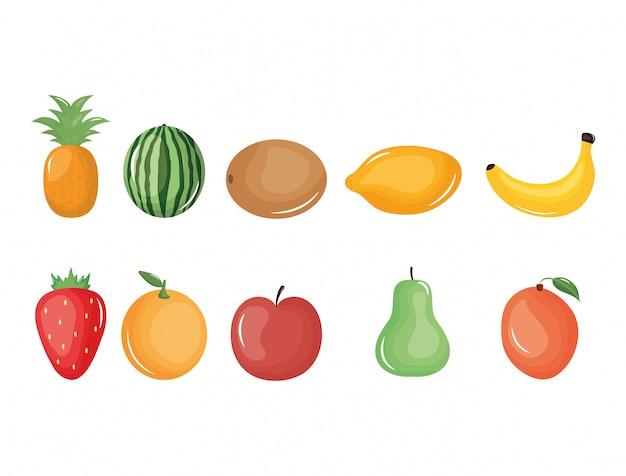 Grupo de frutas tropicales y frescas. Vector Premium