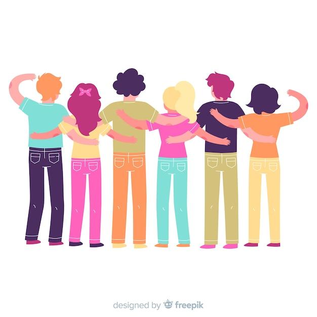 Grupo de gente joven abrazándose en diseño plano vector gratuito