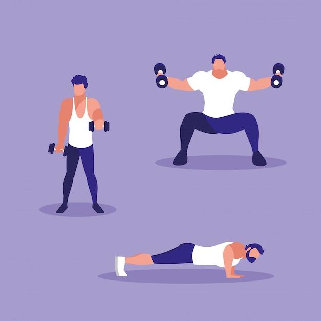 Grupo de hombres atléticos practicando deporte Vector Premium