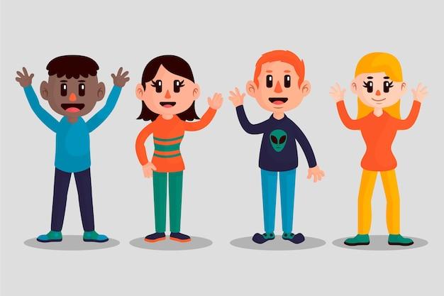 Grupo de hombres y mujeres jóvenes agitando la mano juntos vector gratuito