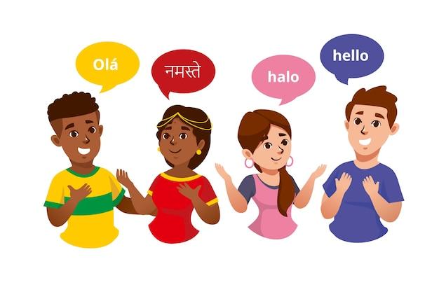 Grupo de ilustraciones de jóvenes hablando en diferentes idiomas vector gratuito