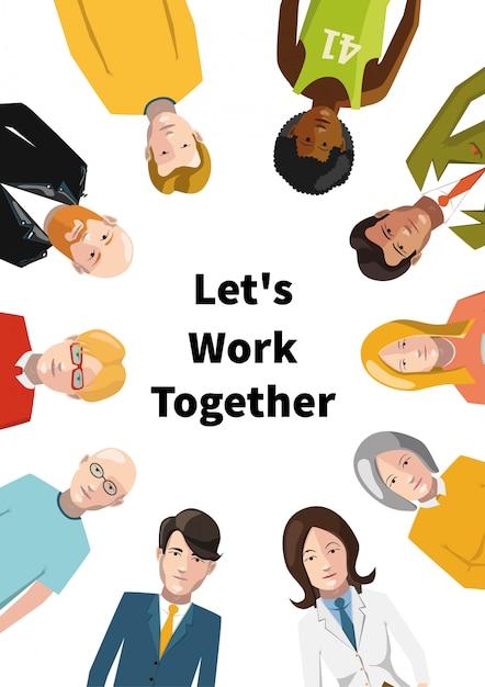 Grupo internacional de personas que trabajan en equipo, ilustración plana sobre fondo blanco Vector Premium