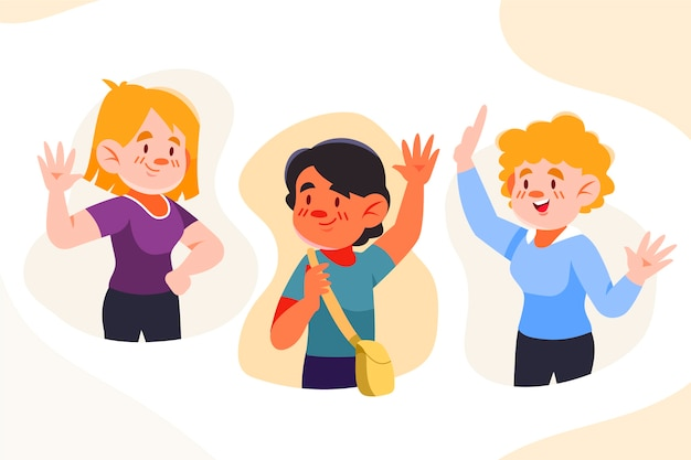 Grupo de jóvenes agitando la mano vector gratuito