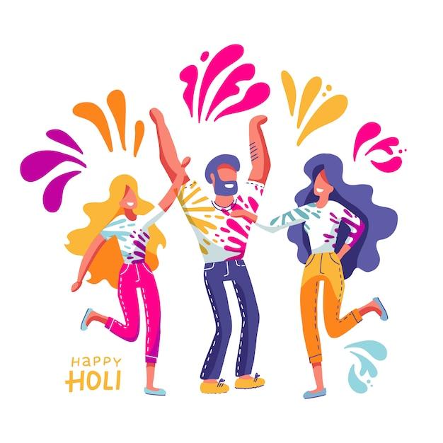 Grupo de jóvenes celebra holi. hombres y mujeres tiran pintura de colores. ilustración en estilo plano dibujado a mano con letras Vector Premium