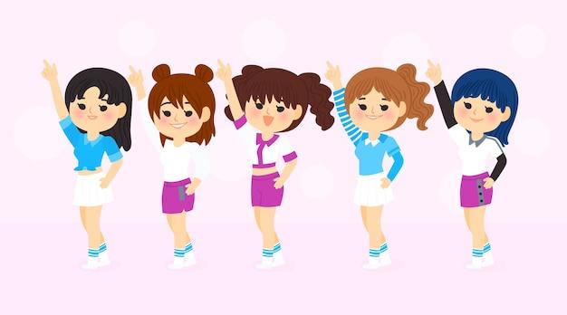Grupo de jóvenes chicas de k-pop vector gratuito