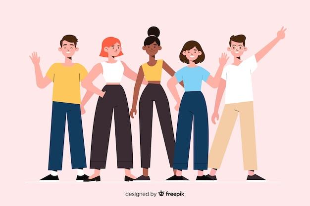 Grupo de jóvenes posando para una foto. vector gratuito