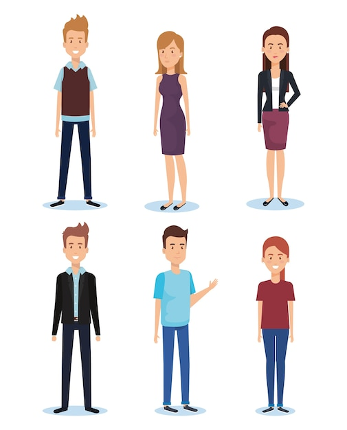 Grupo de jóvenes poses y estilos Vector Premium