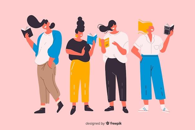 Grupo de jóvenes tiempo de lectura ilustrado vector gratuito