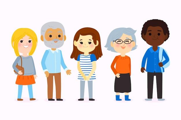 Grupo de jóvenes y viejos vector gratuito