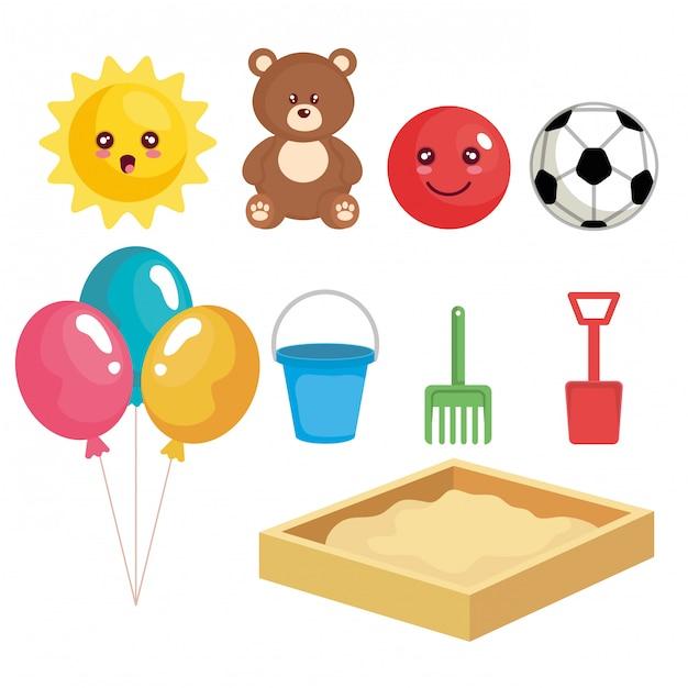 Grupo de juguetes set colección vector gratuito