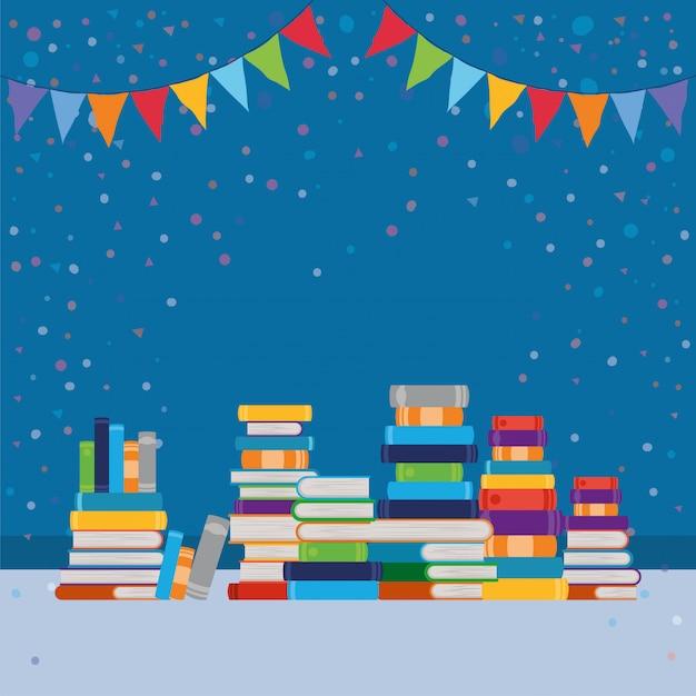 Grupo de libros y banderín. vector gratuito