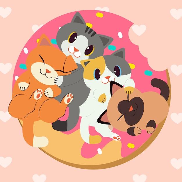 Grupo de lindos gatos rosquillas deliciosas Vector Premium