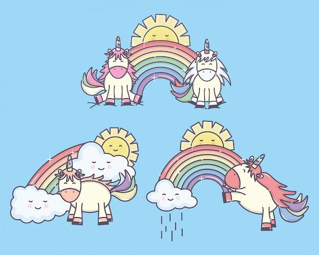 Grupo de lindos unicornios con personajes de arco iris y soles vector gratuito